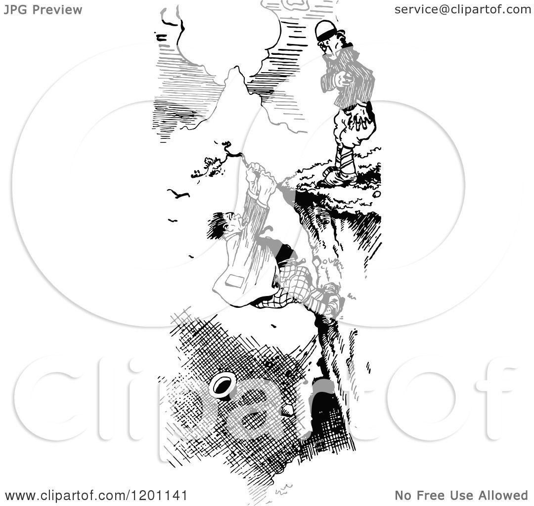 Clipart of a Vintage Black and White Man Hanging from a
