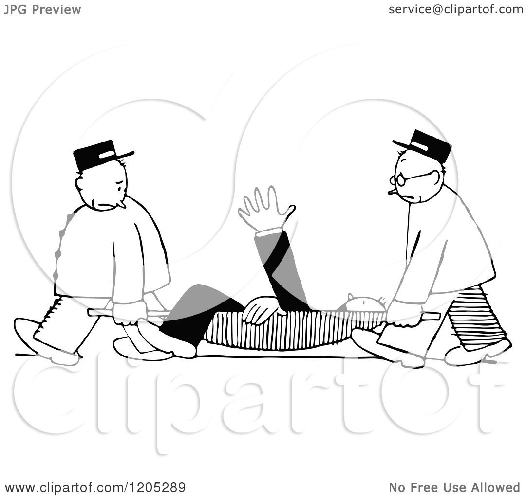 Clipart Of A Vintage Black And White Man On A Stretcher
