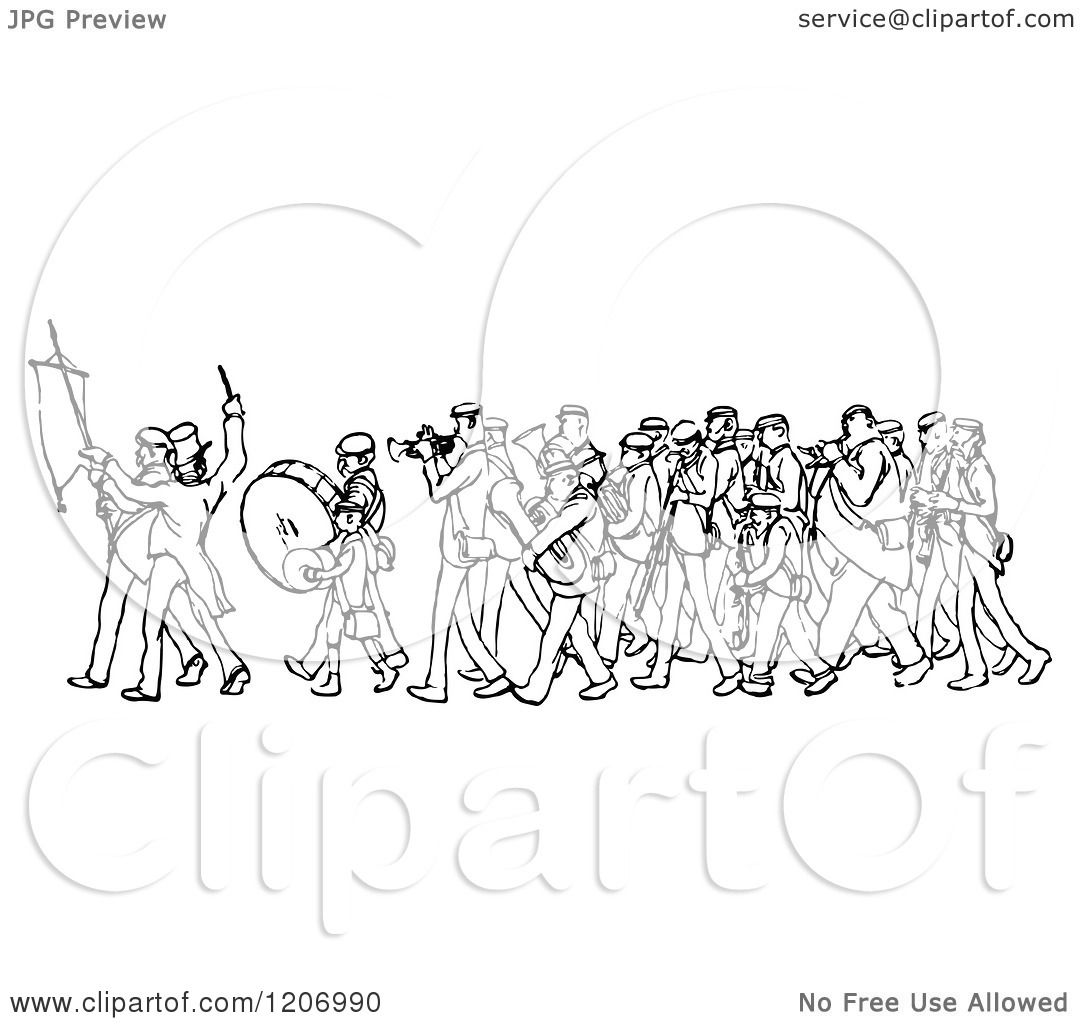 Clipart of a Vintage Black and White Marching Band ...