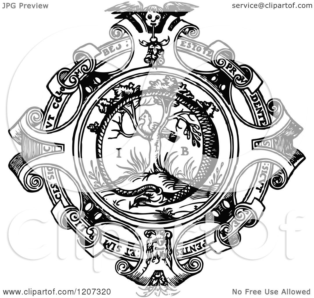 Clipart Of A Vintage Black And White Medieval Design