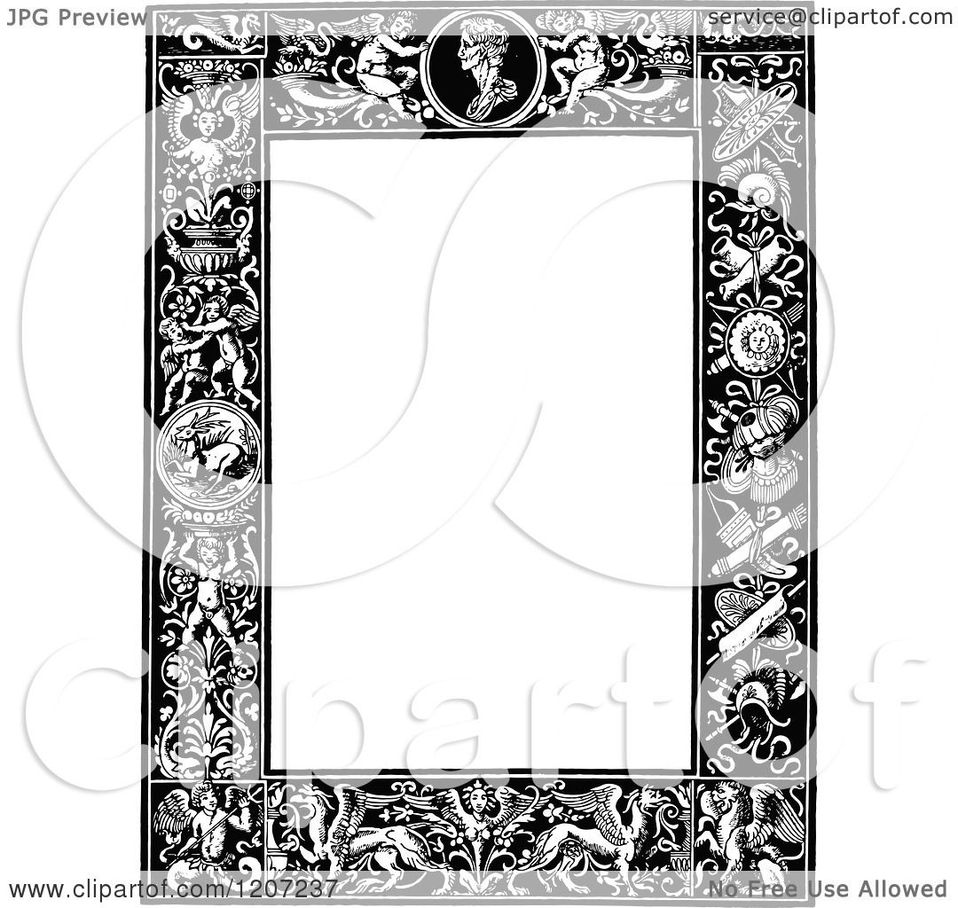 Clipart Of A Vintage Black And White Medieval Page Frame