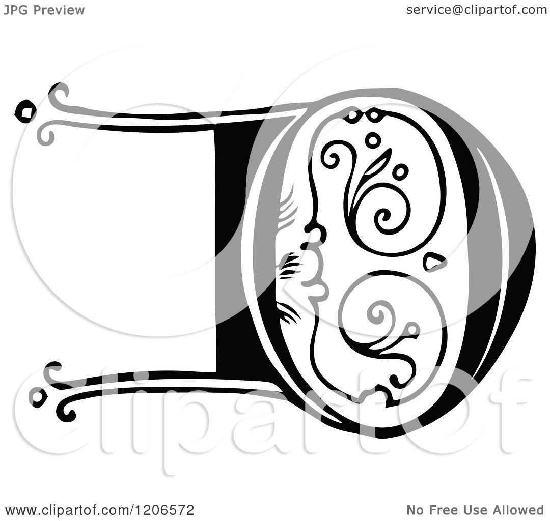 Clipart Of A Vintage Black And White Monogram D Letter Royalty