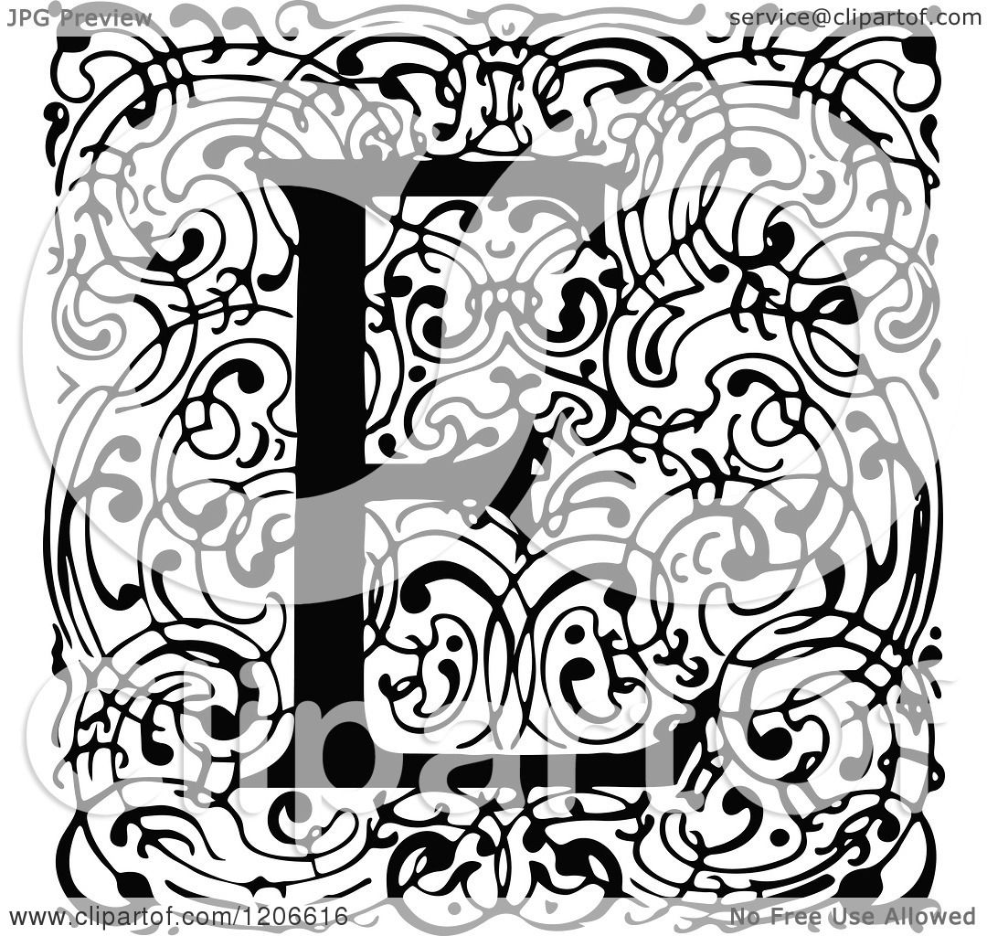 clipart of a vintage black and white monogram e letter over swirls royalty free vector illustration by prawny vintage