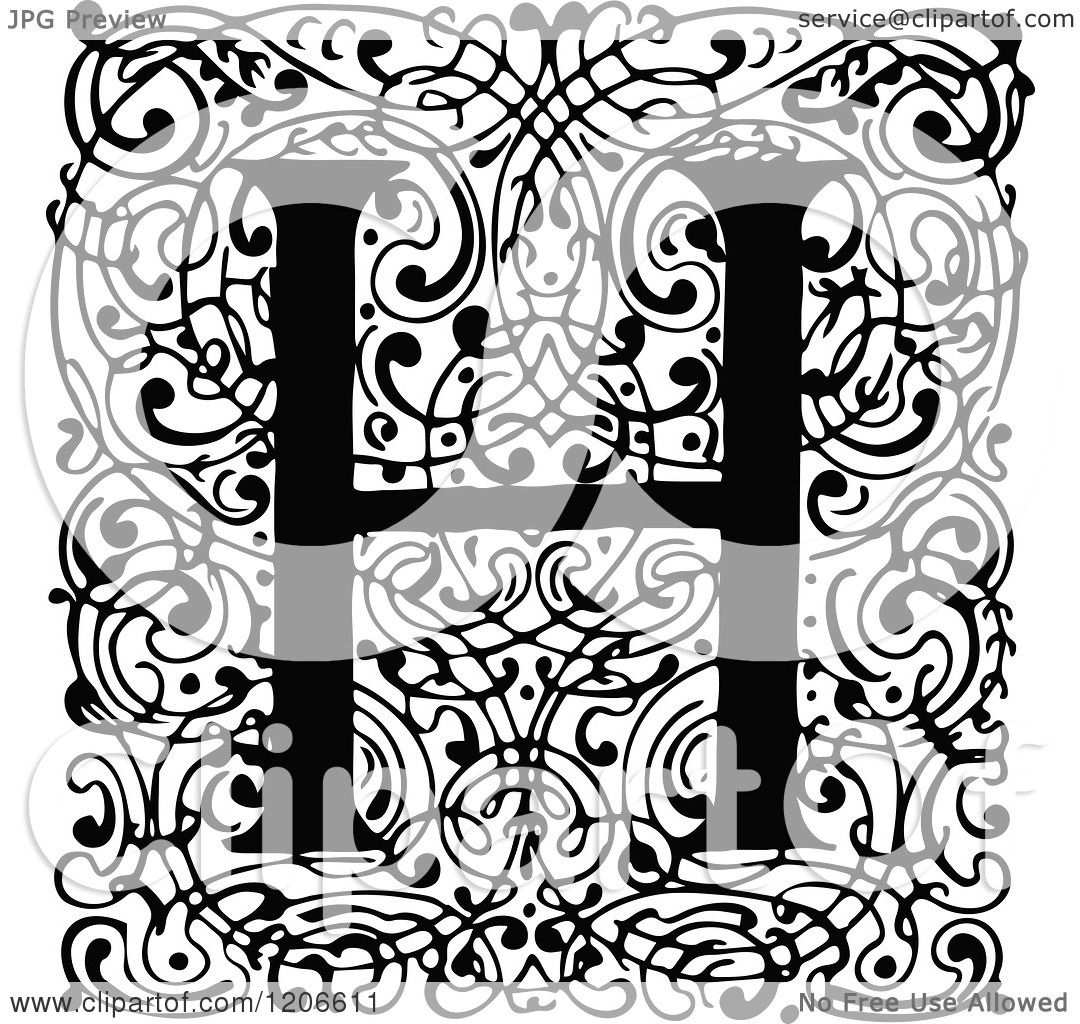 Clipart Of A Vintage Black And White Monogram H Letter Over Swirls