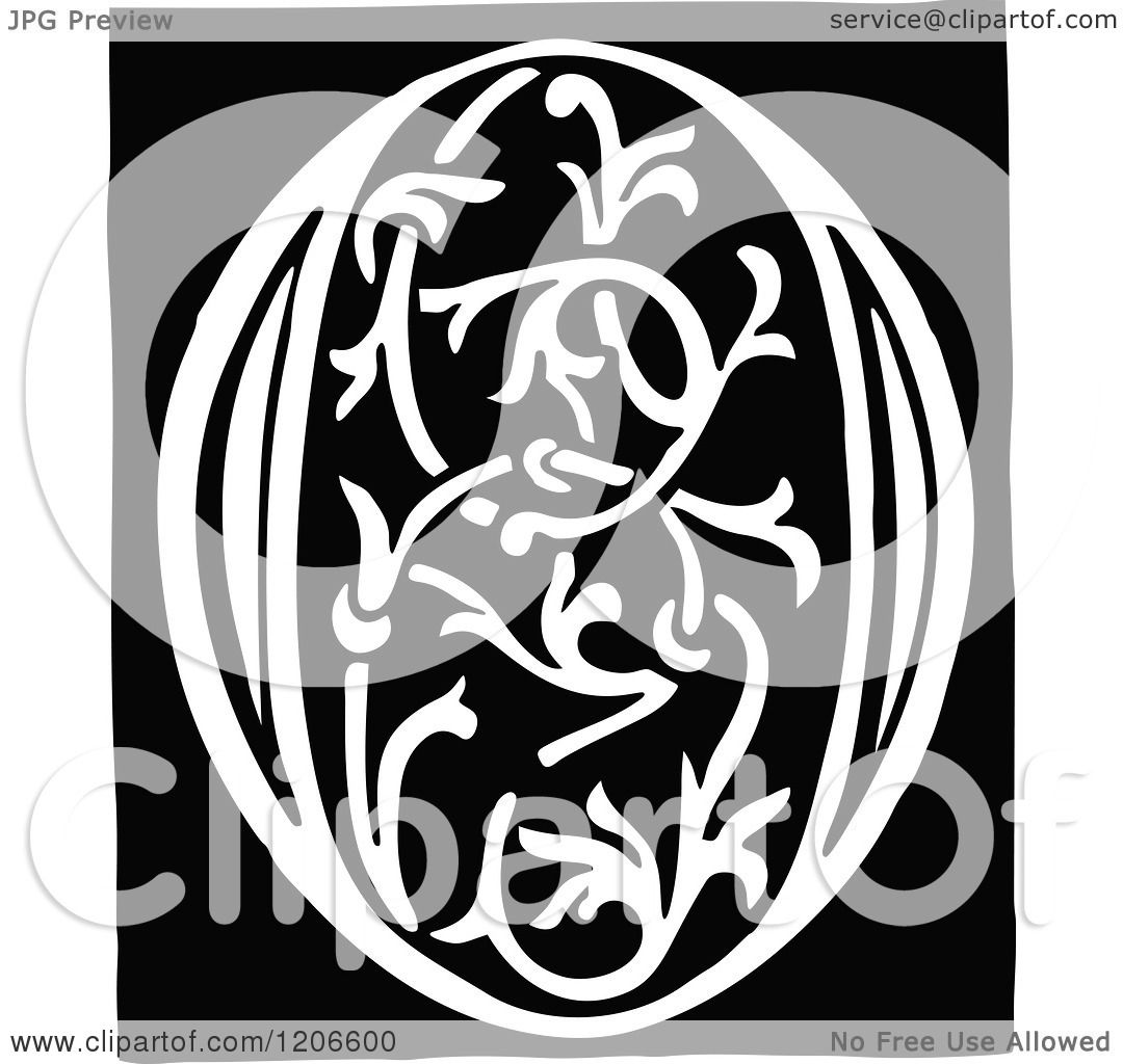 clipart of a vintage black and white monogram letter o