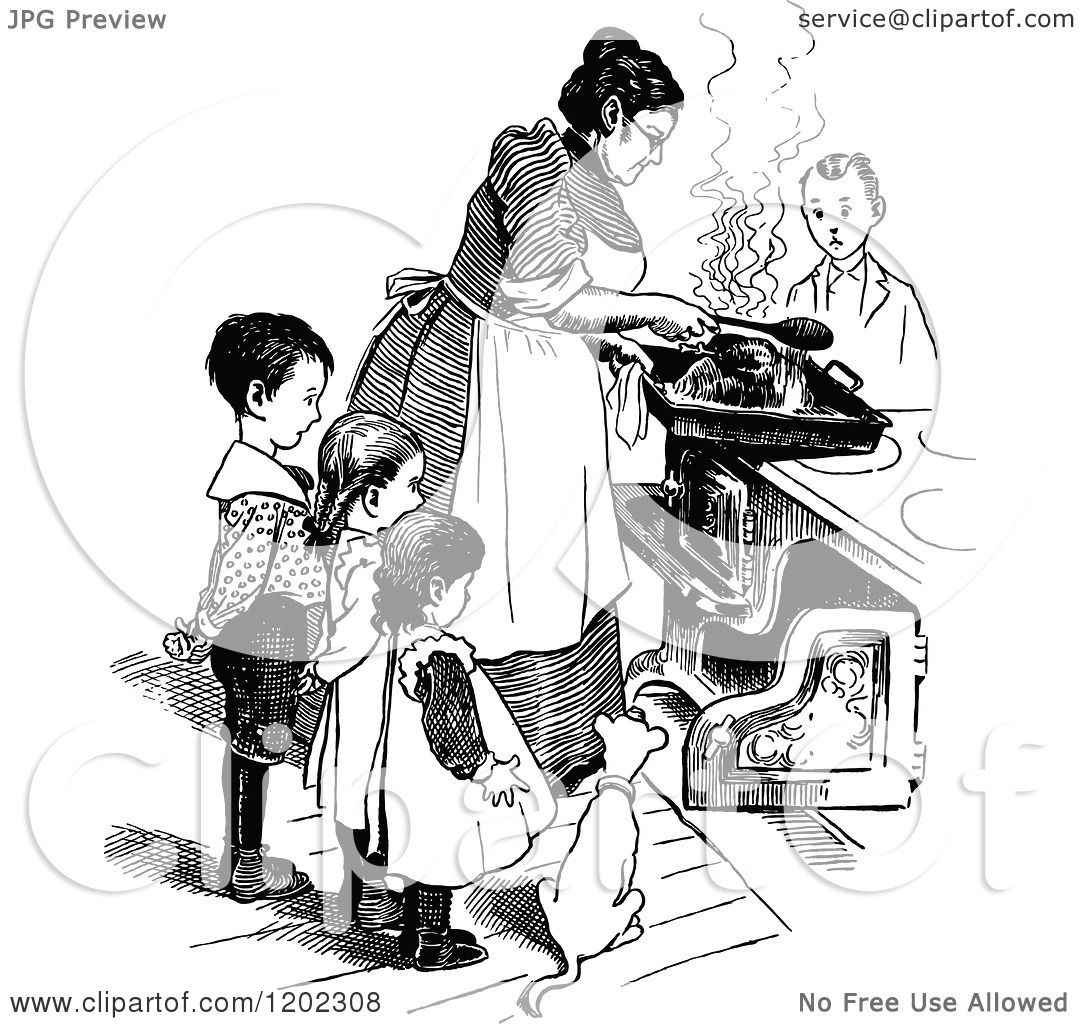 Clipart Of A Vintage Black And White Mother And Children