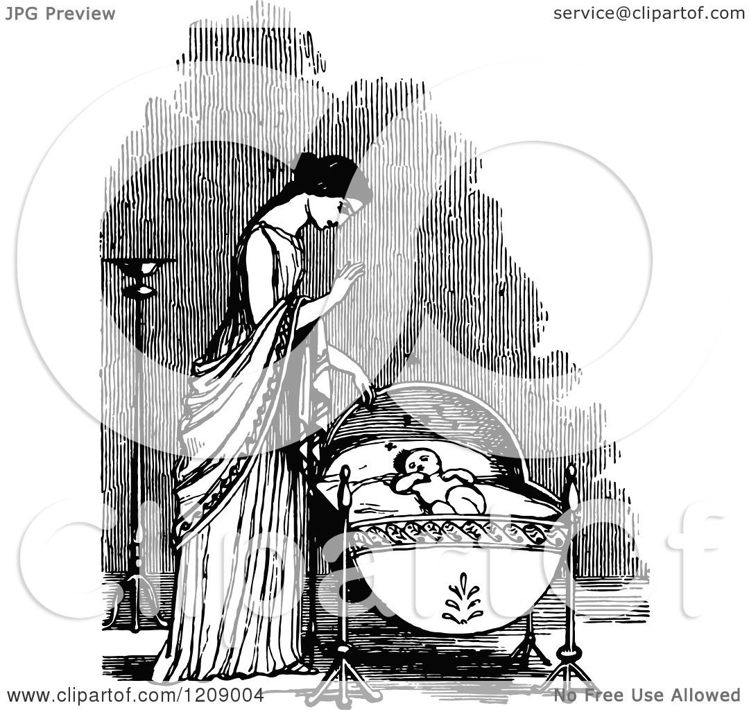 Clipart Of A Vintage Black And White Mother Over A Baby