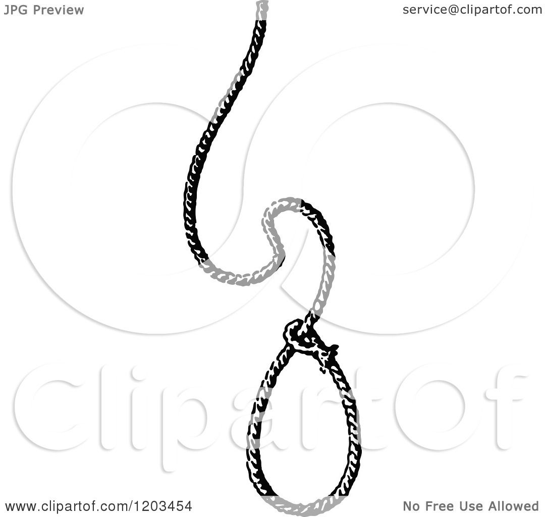 clipart of a vintage black and white noose