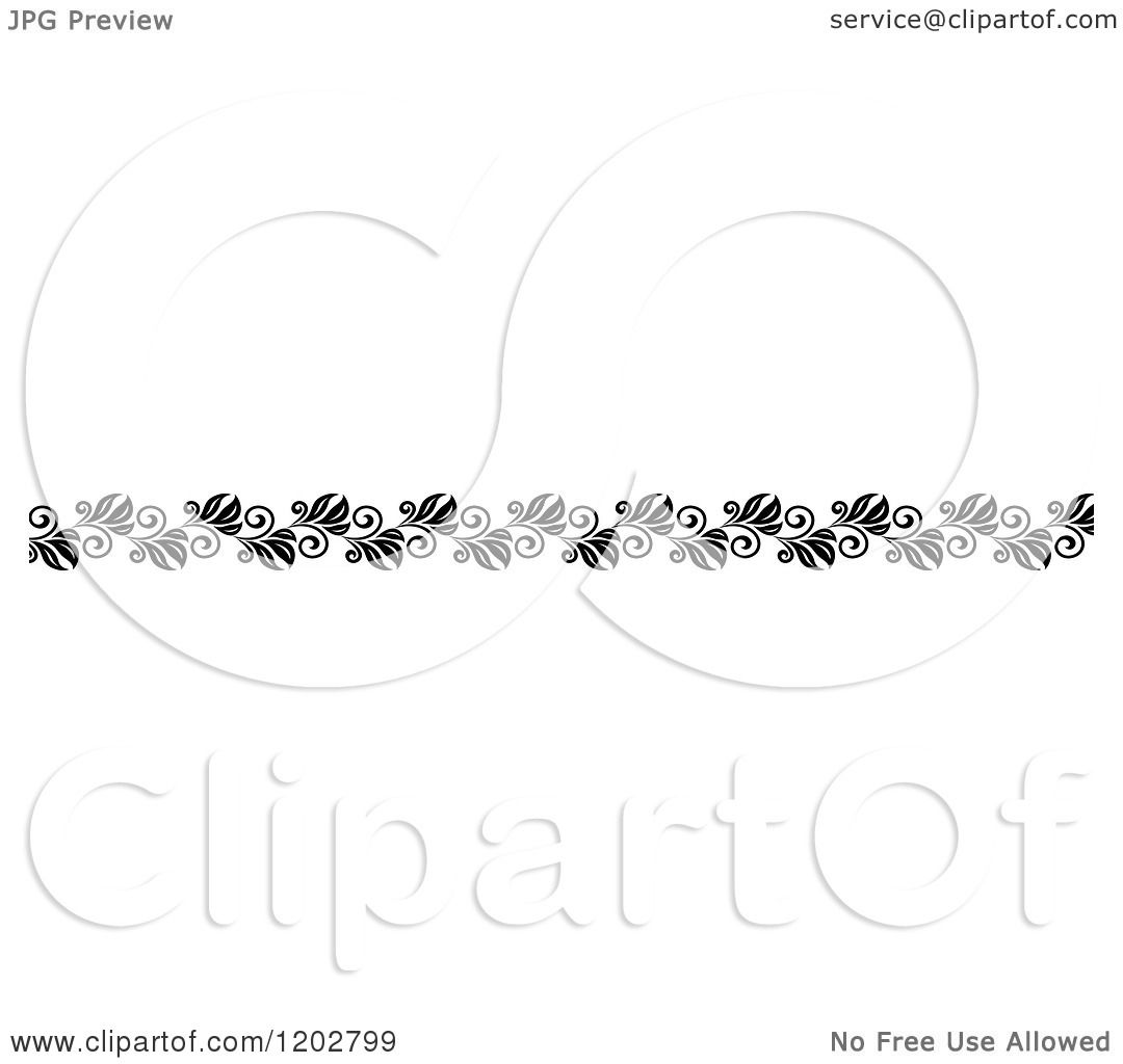 Clipart Of A Vintage Black And White Ornate Floral Border Design