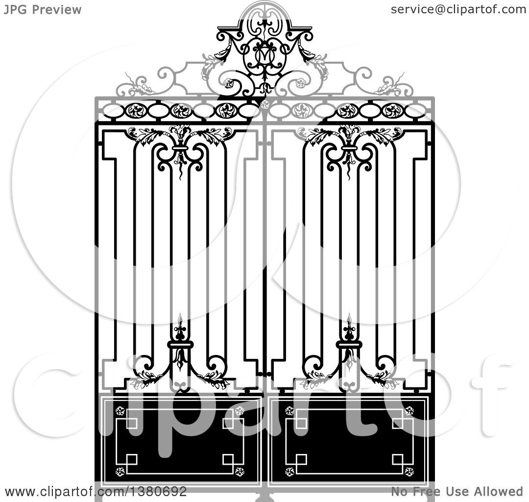 Clipart of a vintage black and white ornate wrought iron