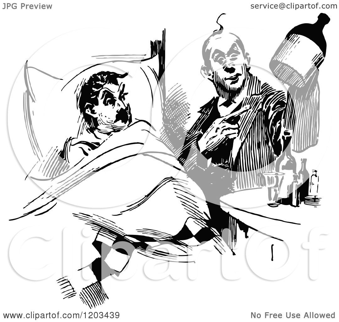 Clipart Of A Vintage Black And White Patient Doctor Medicine