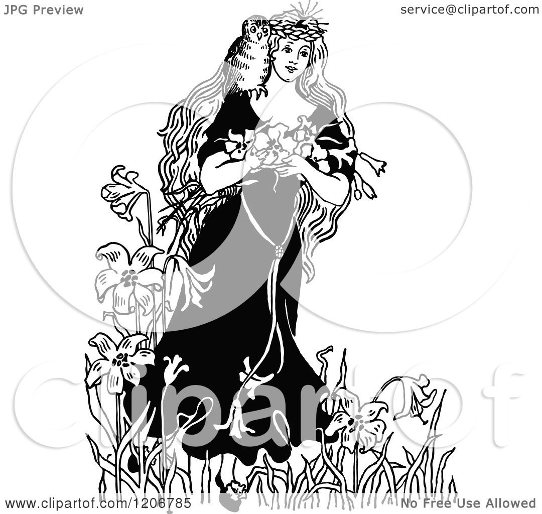 Clipart of a Vintage Black and White Princess with Owl and ...