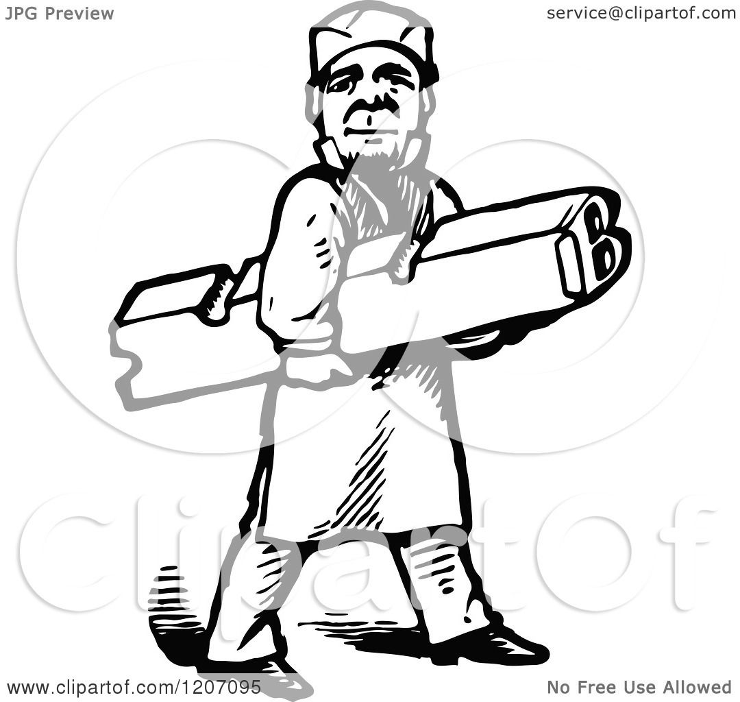 Clipart Of A Vintage Black And White Printer Worker Carrying A
