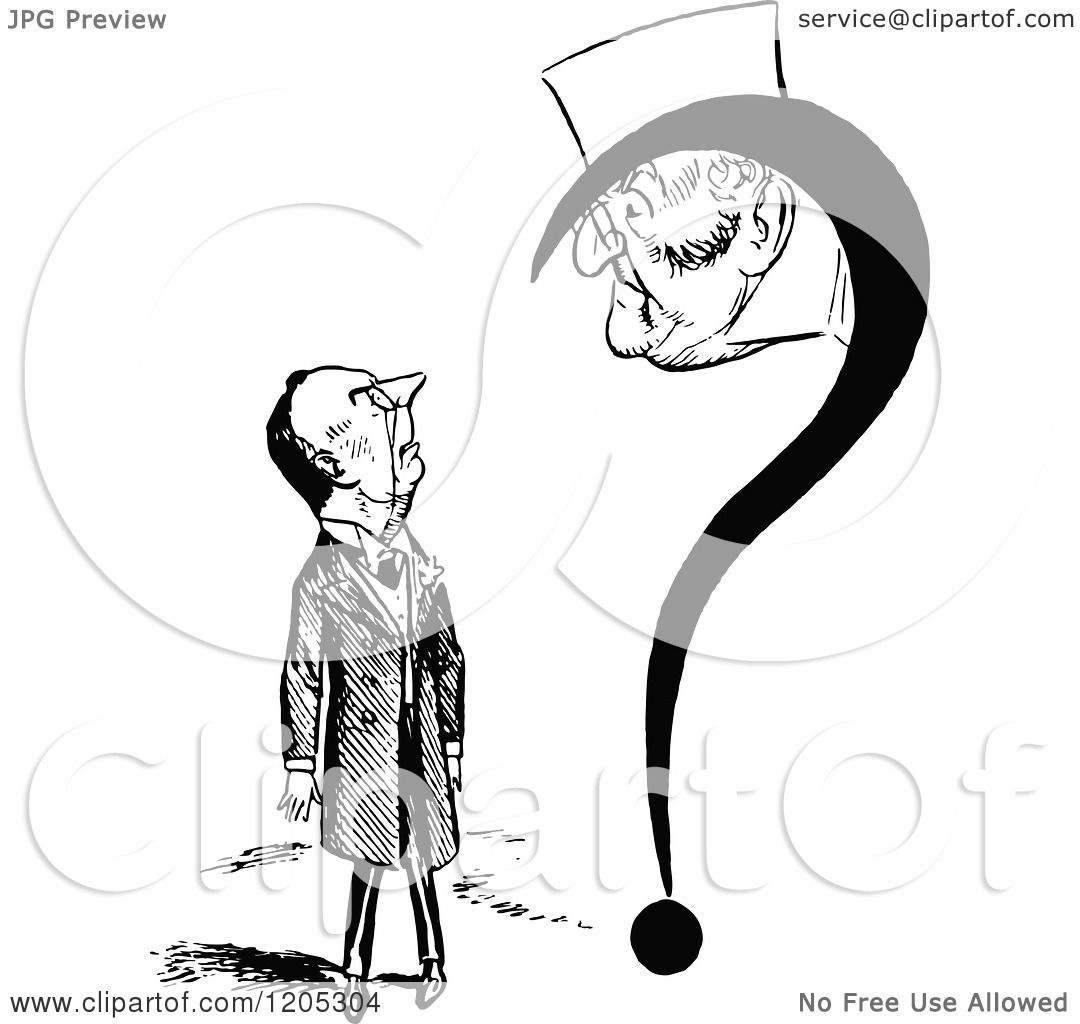 Clipart of a Vintage Black and White Question Mark and Men ...