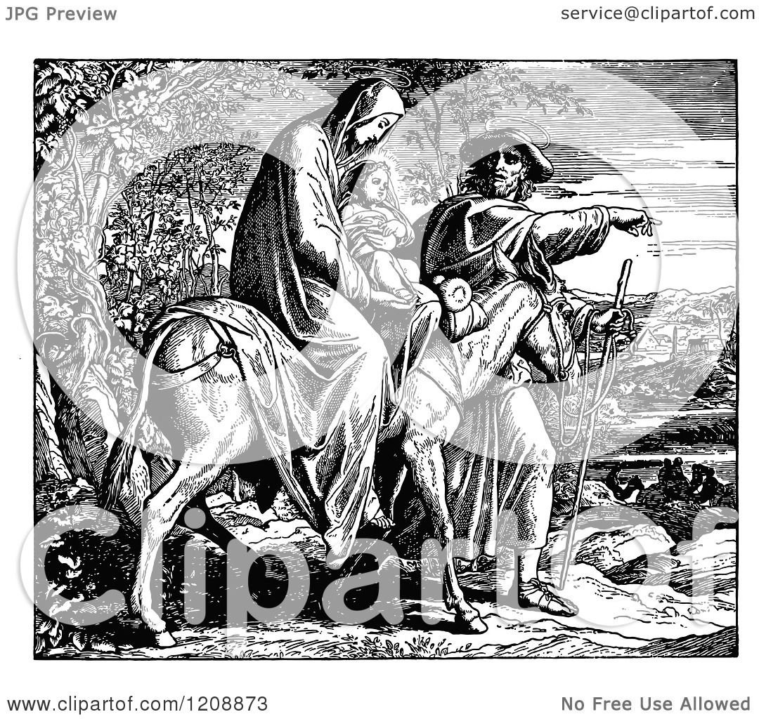 Clipart Of A Vintage Black And White Scene Of Mary Joseph