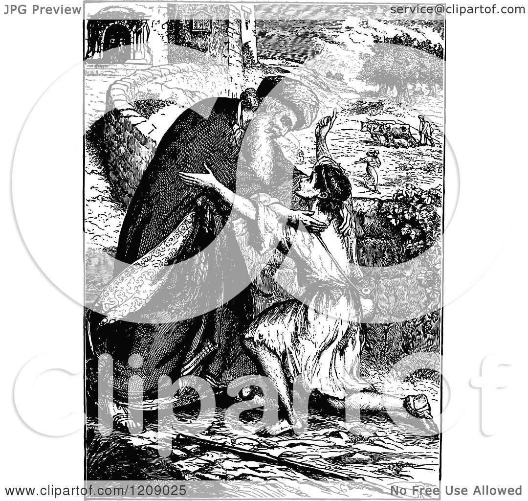Clipart Of A Vintage Black And White Scene Of The Prodigal