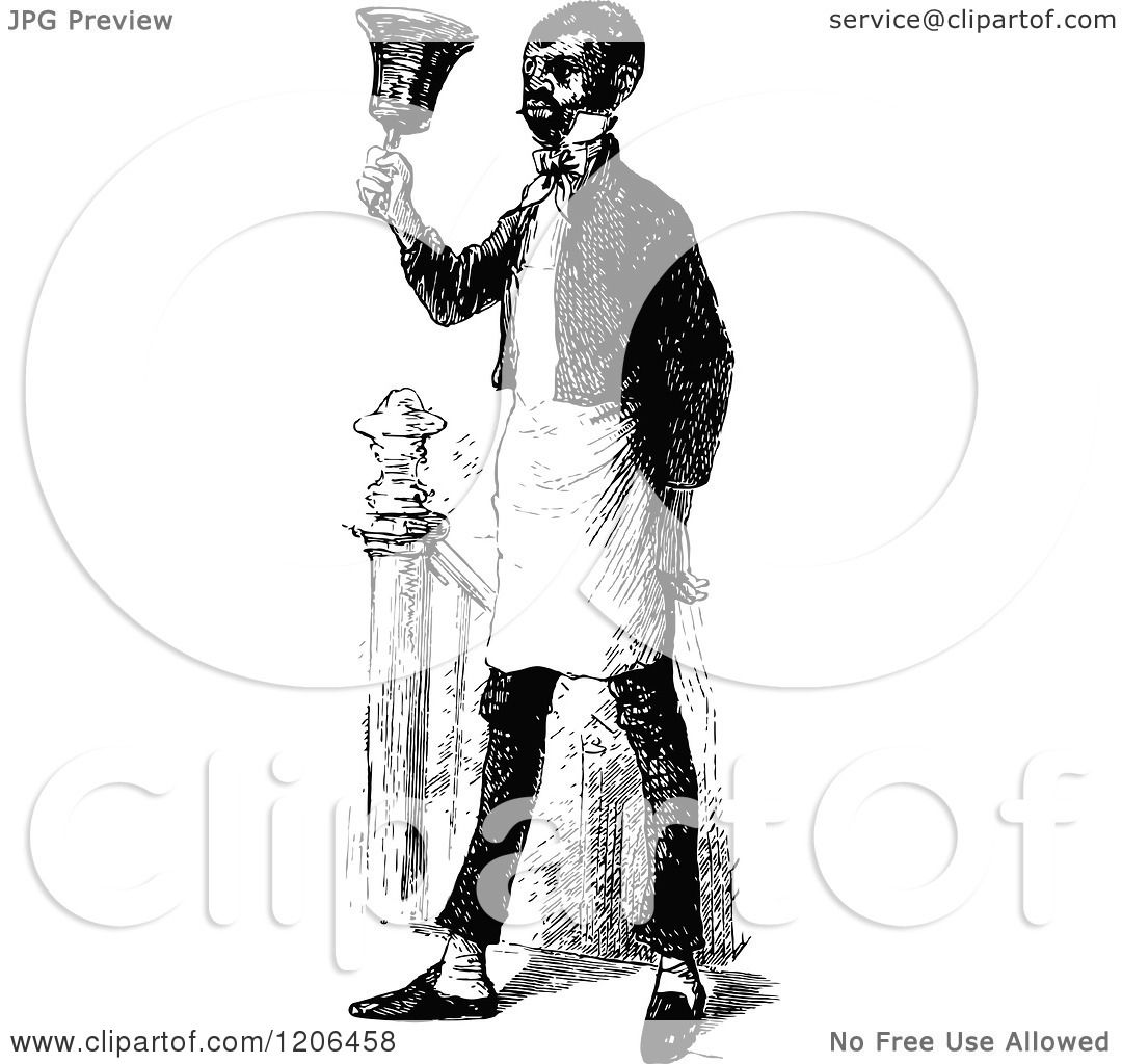 Clipart Of A Vintage Black And White Servant Ringing A
