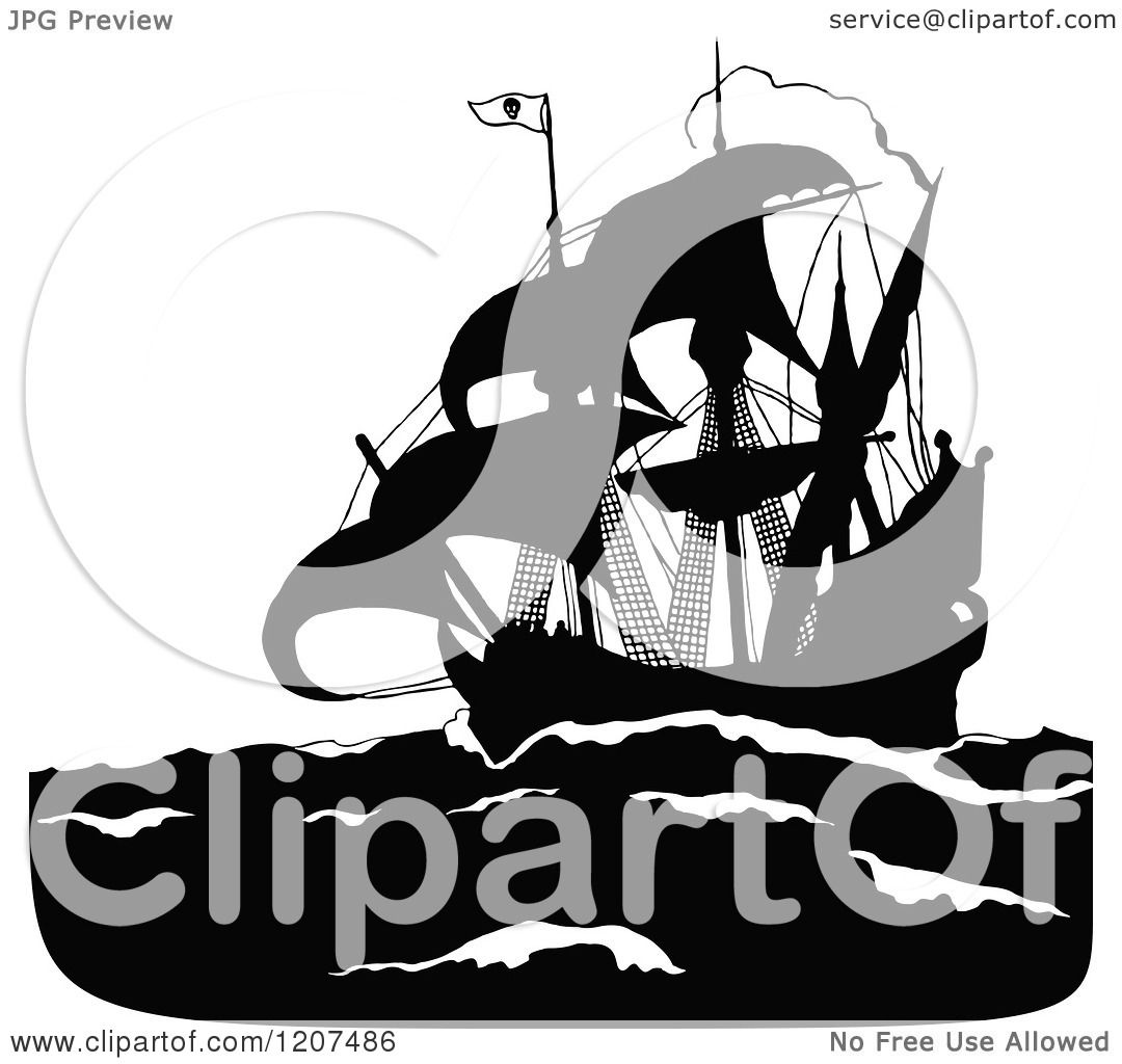 clipart of a vintage black and white silhouetted pirate ship
