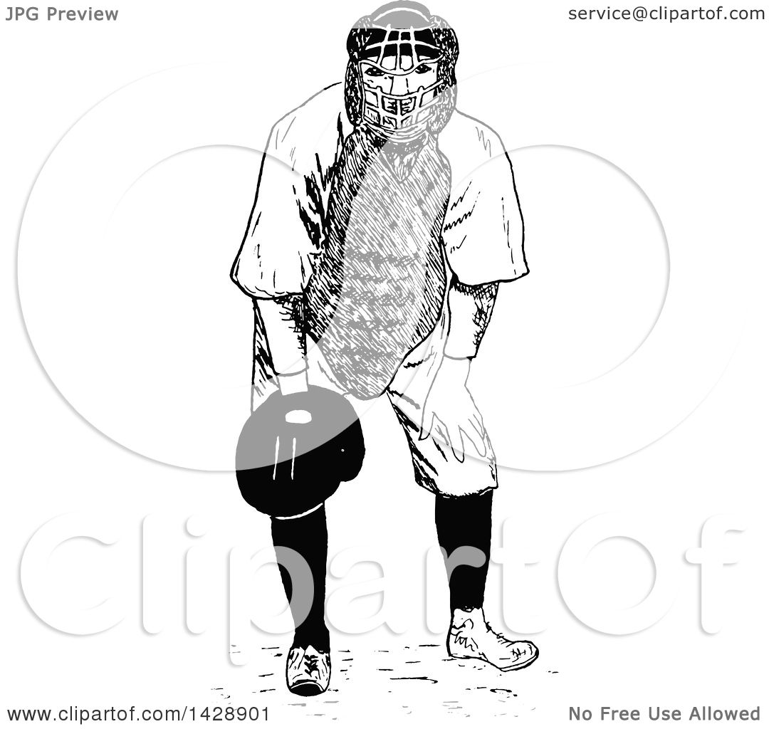 Clipart Of A Vintage Black And White Sketched Baseball Player Catcher