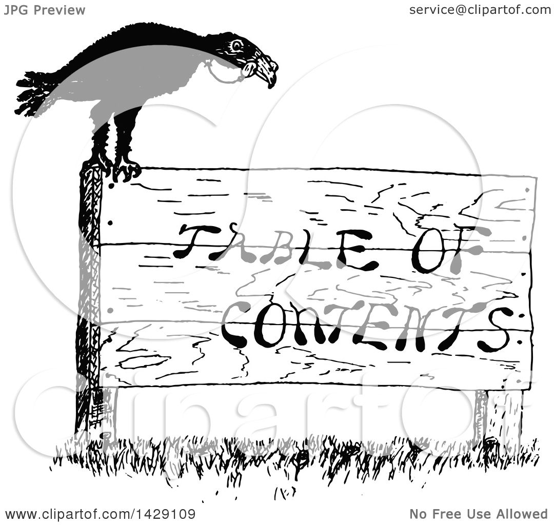 clipart of a vintage black and white sketched crow on a table of rh clipartof com table of contents clipart table of contents clipart