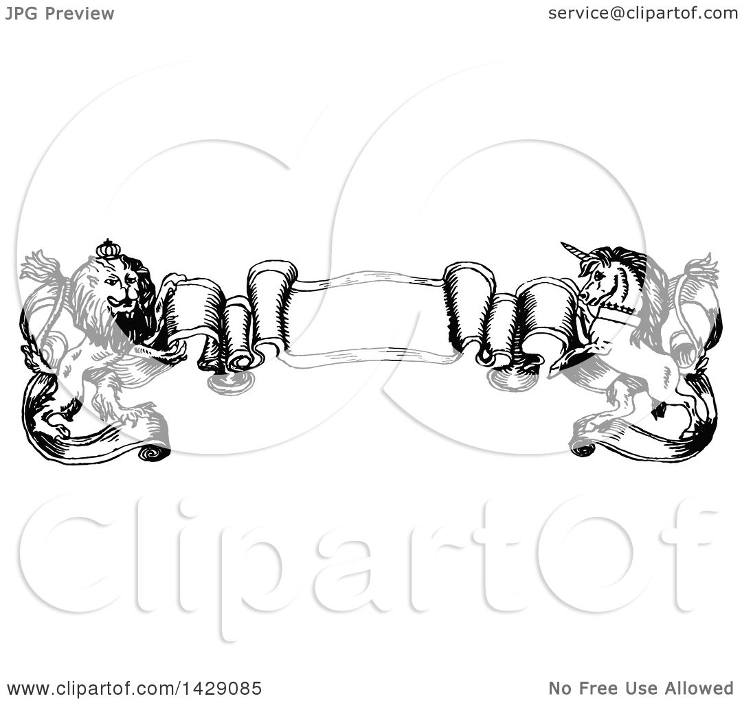 Clipart of a Vintage Black and White Sketched Unicorn and ...