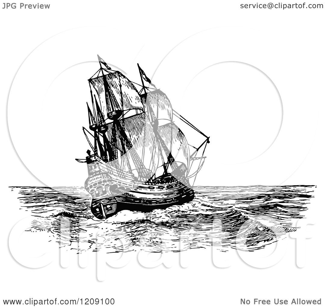 clipart of a vintage black and white spanish galleon ship