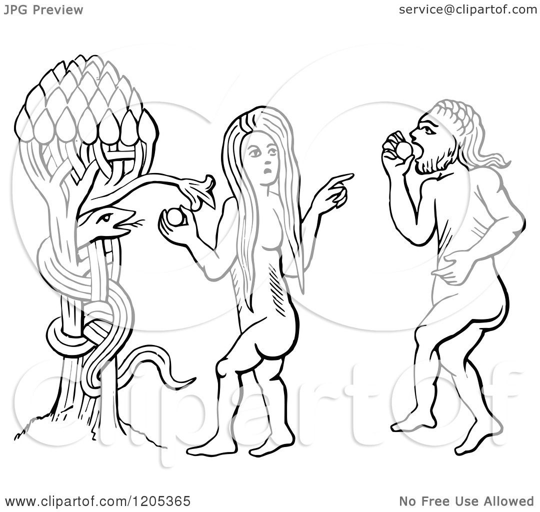 Clipart of a Vintage Black and White Temptation of Adam and Eve ...