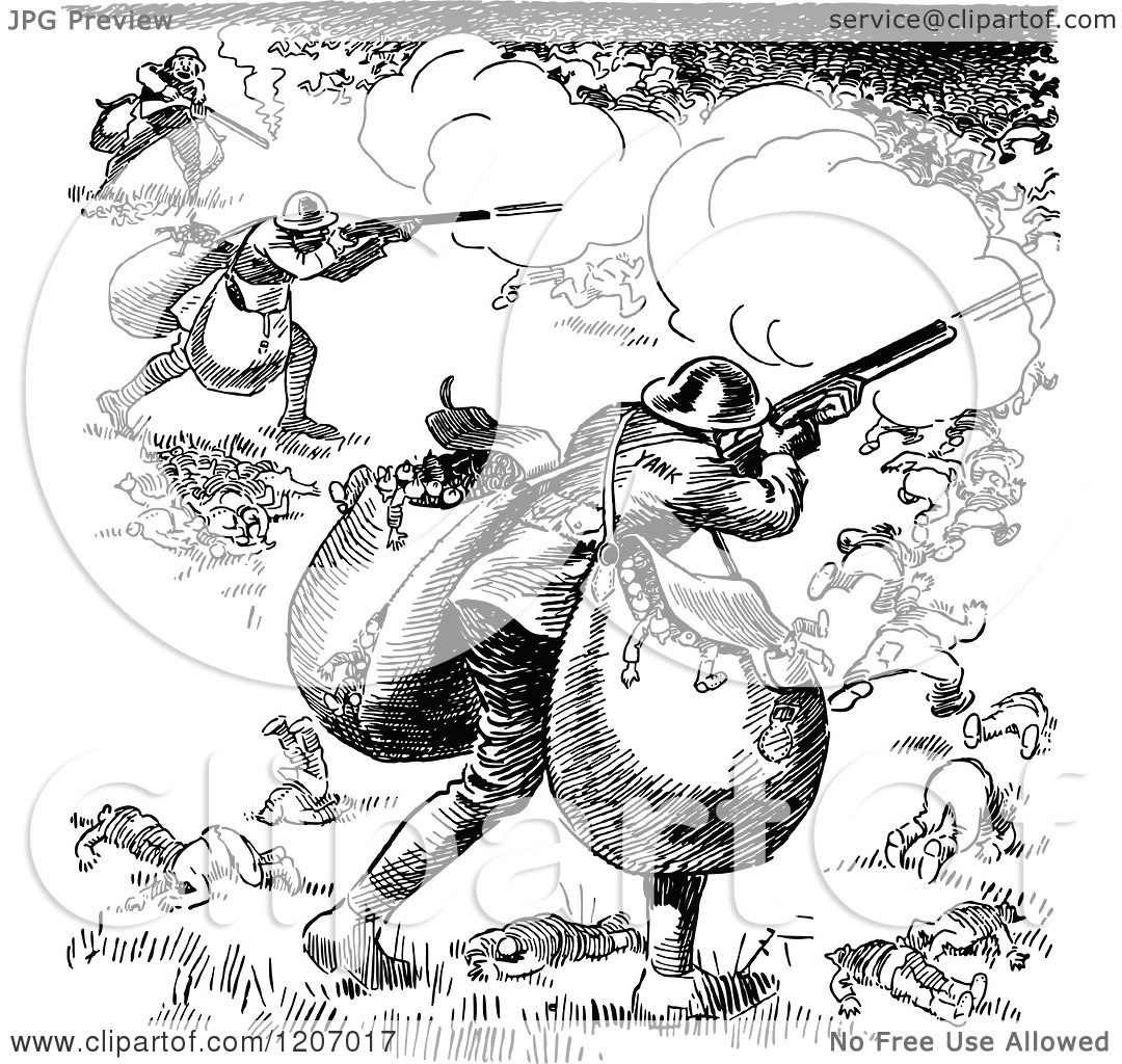 Clipart of a Vintage Black and White War Cartoon - Royalty Free ...
