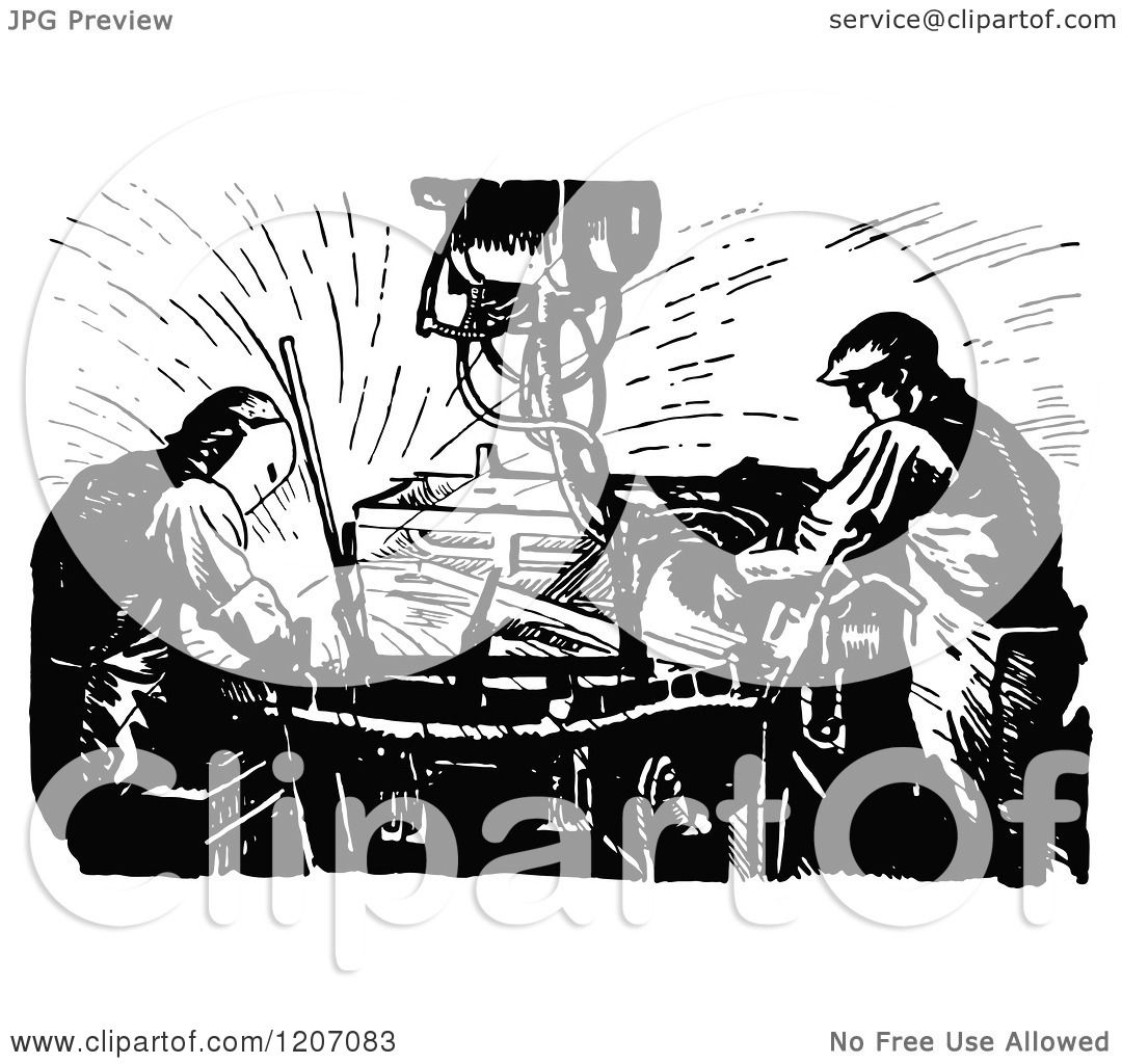 Clipart Of A Vintage Black And White Welding Machine And