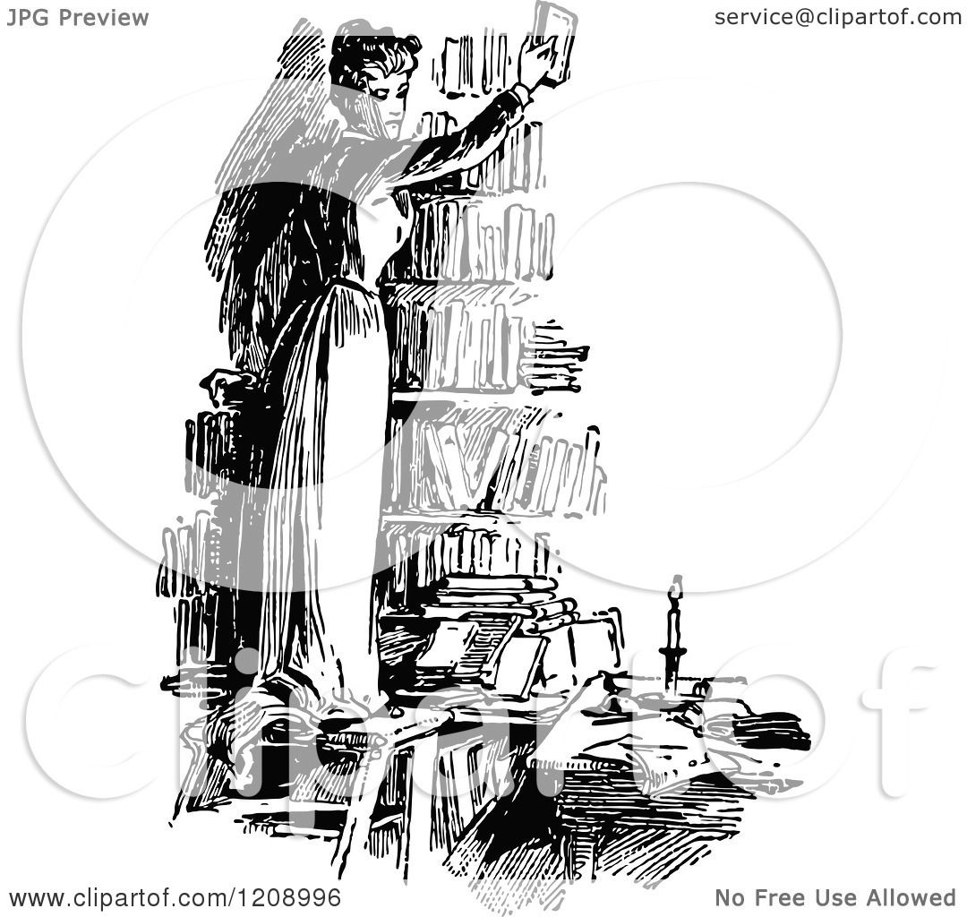 Clipart of a Vintage Black and White Woman Holding up a Book in a ...