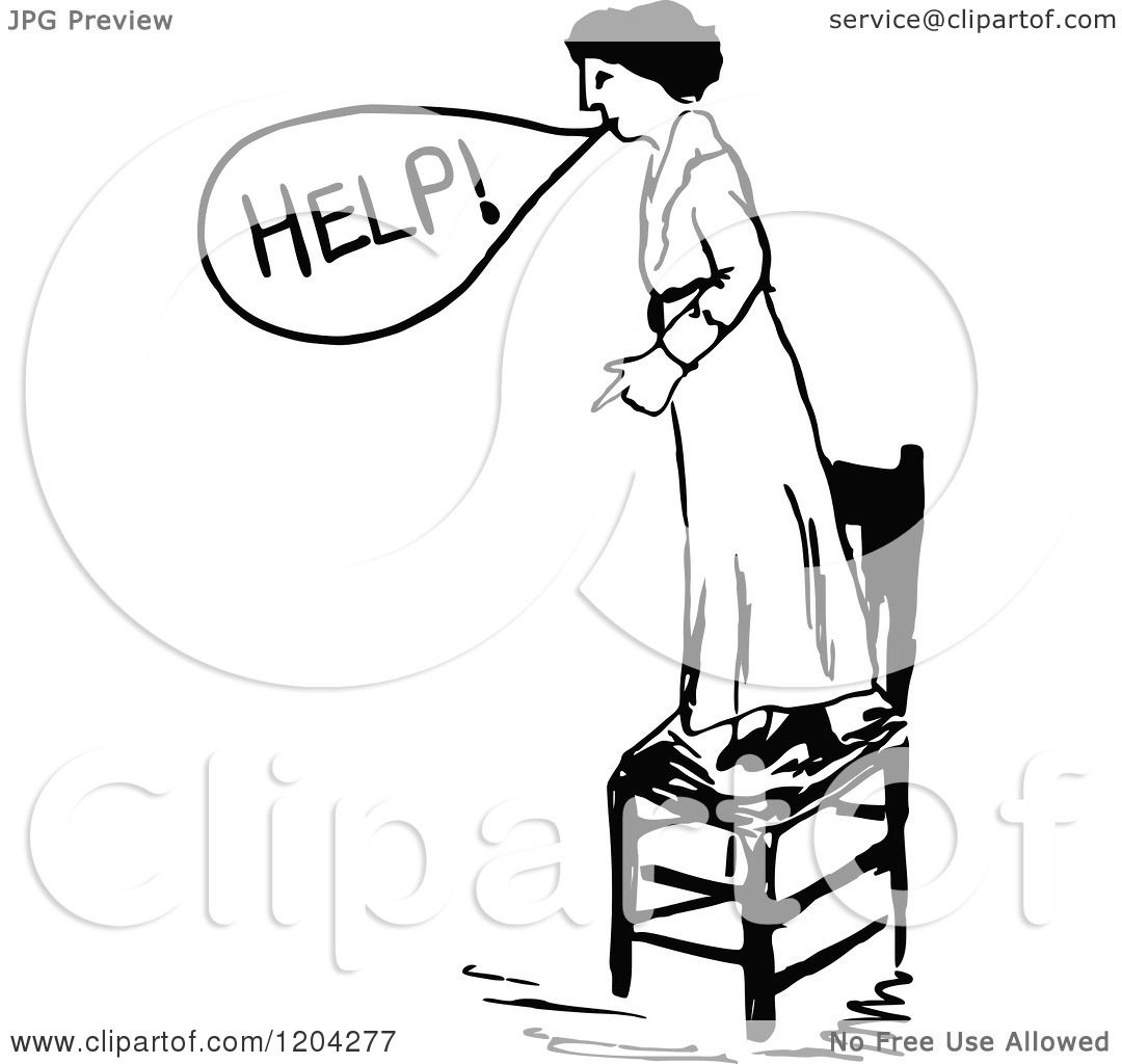 Clipart of a Vintage Black and White Woman Standing on a ...