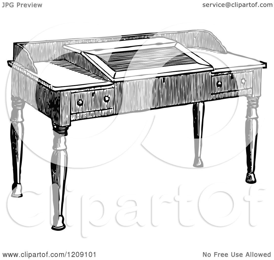 desk clipart black and white. Clipart Of A Vintage Black And White Wooden Study Desk - Royalty Free Vector Illustration By Prawny C