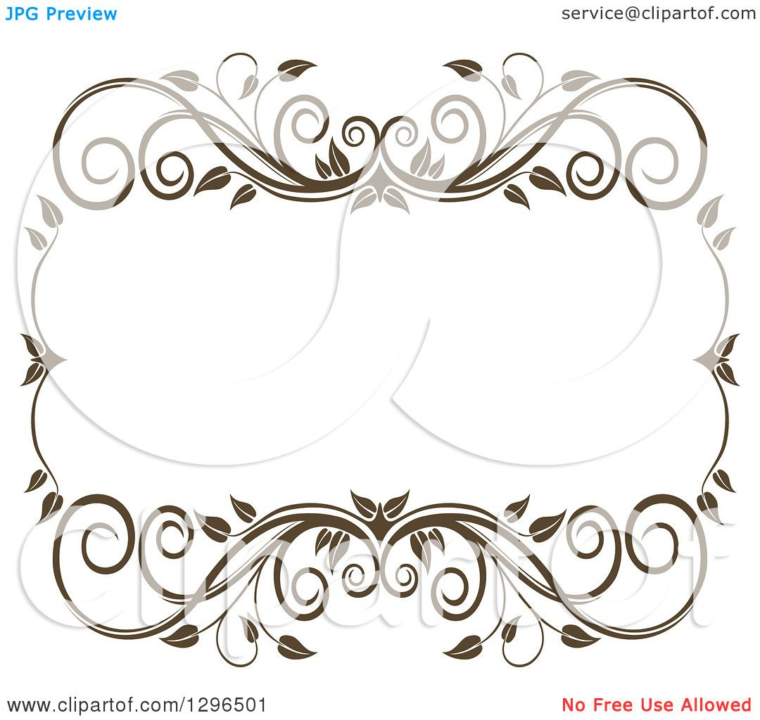 Clipart of a Vintage Brown Swirl Floral Wedding Frame 6