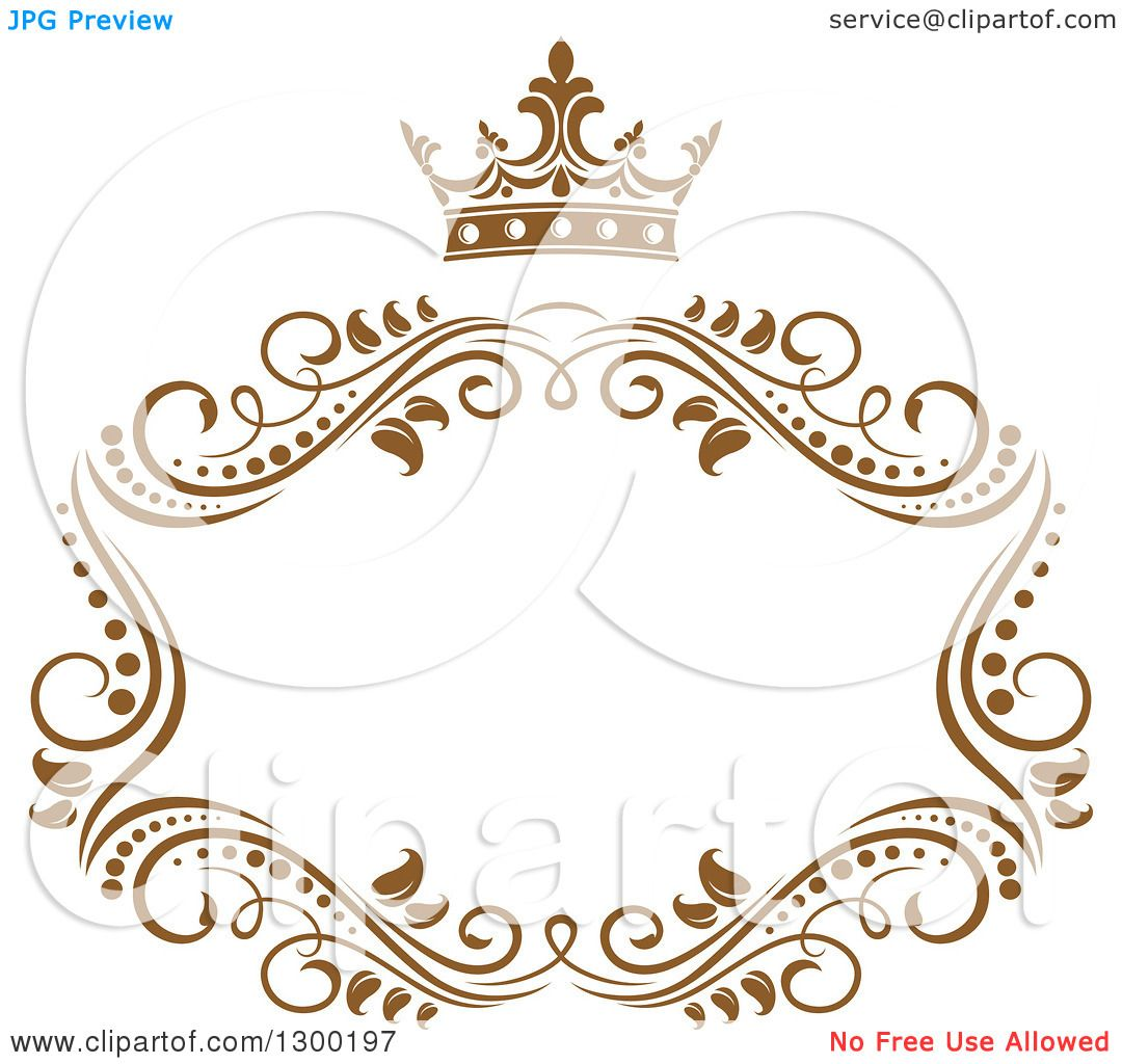 Clipart Of A Vintage Brown Swirl Floral Wedding Frame With
