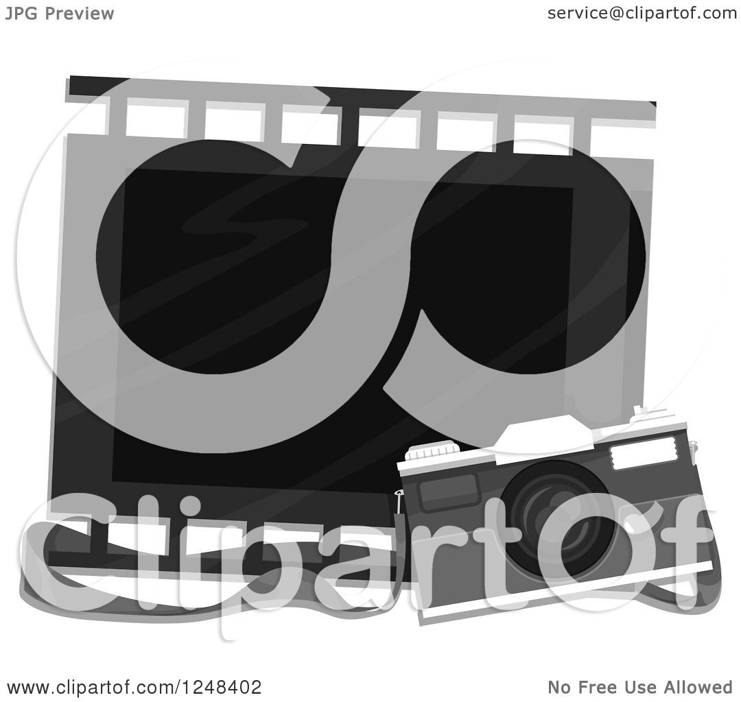 Clipart Of A Vintage Camera And Film Strip Frame
