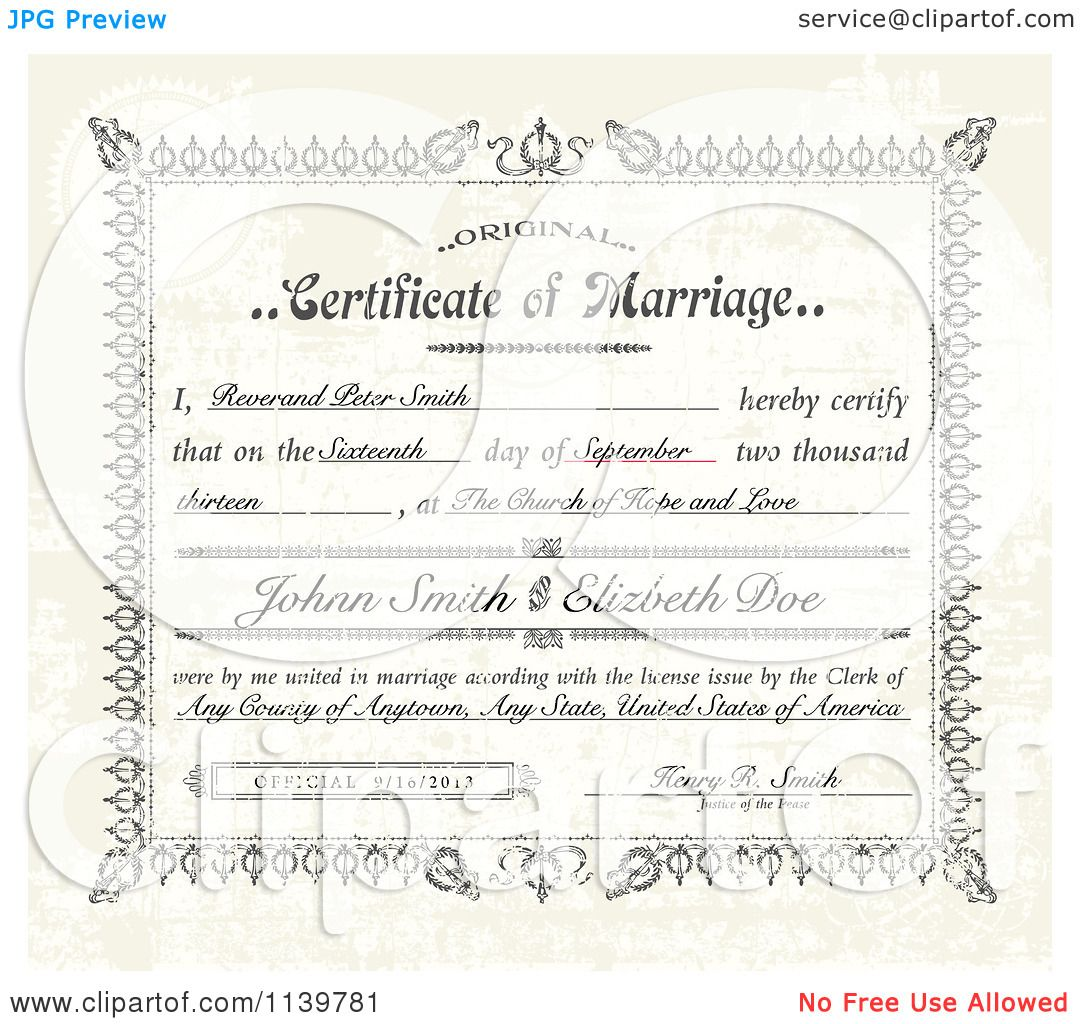 Clipart of a vintage distressed certificate of marriage and sample clipart of a vintage distressed certificate of marriage and sample text royalty free vector illustration by bestvector yadclub Images