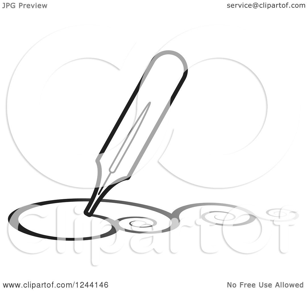 Clip Art Fountain Pen Clipart of a vintage fountain pen nib drawing ...