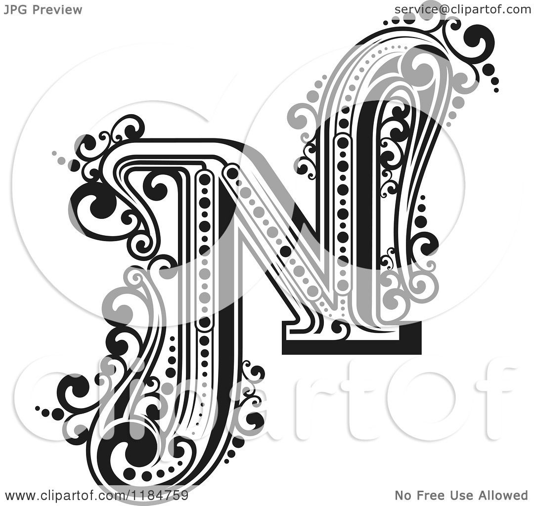 Clipart of a Vintage Letter N in Black and White - Royalty ...