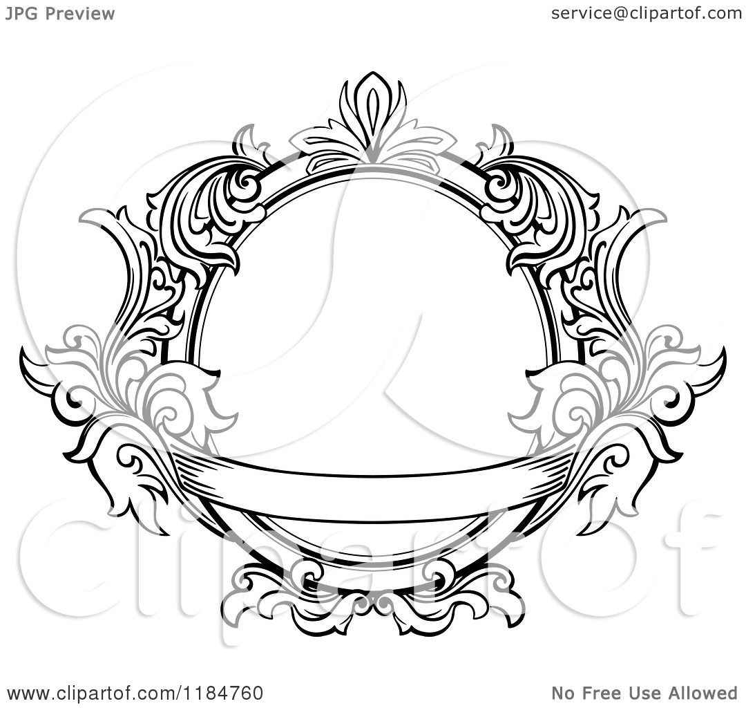 clipart of a vintage ornate oval frame with leaves and a banner royalty free vector illustration by vector tradition sm