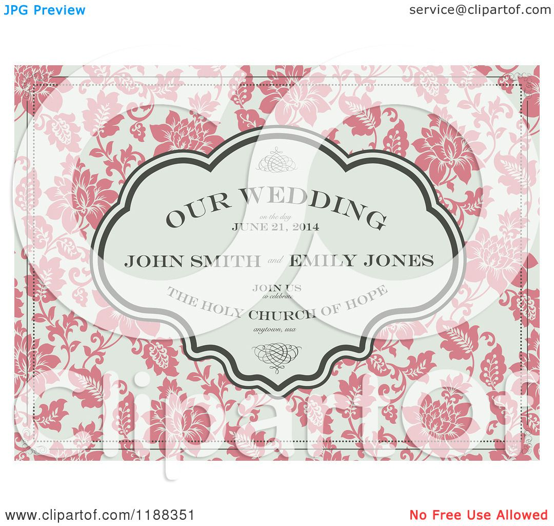 Clipart of a Vintage Pink and Beige Floral Wedding Invite with ...