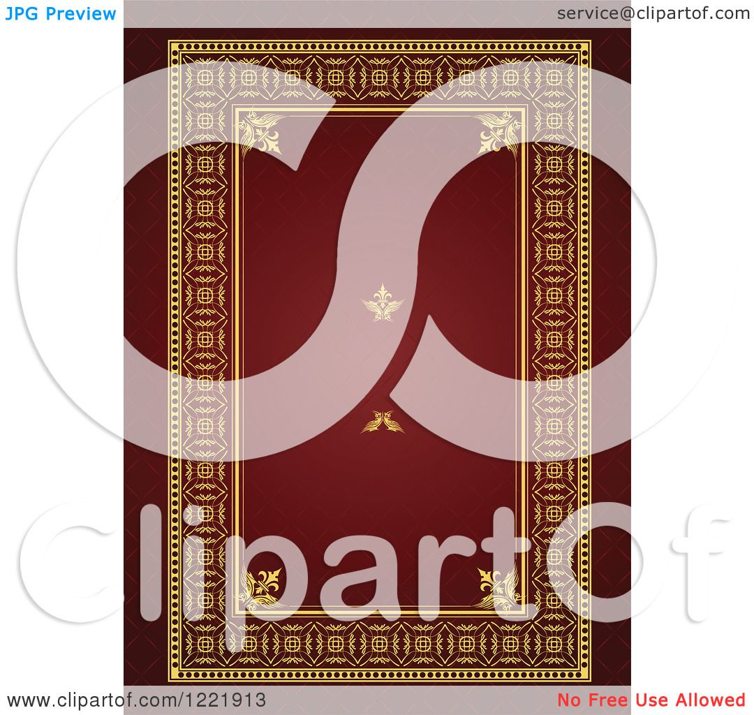Clipart of a Vintage Red and Gold Wedding Invite with Space for Text ...