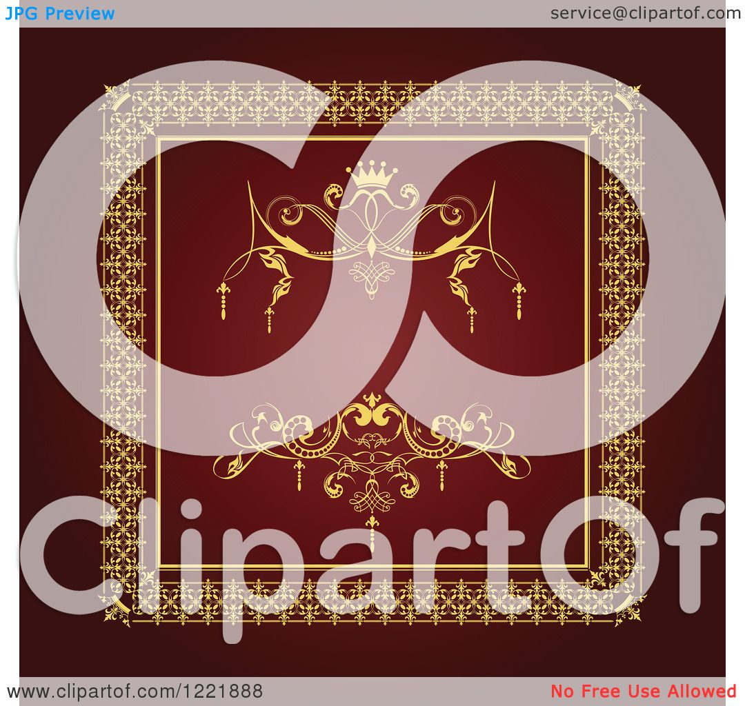 Clipart of a Vintage Red and Golden Wedding Invite with Space for ...