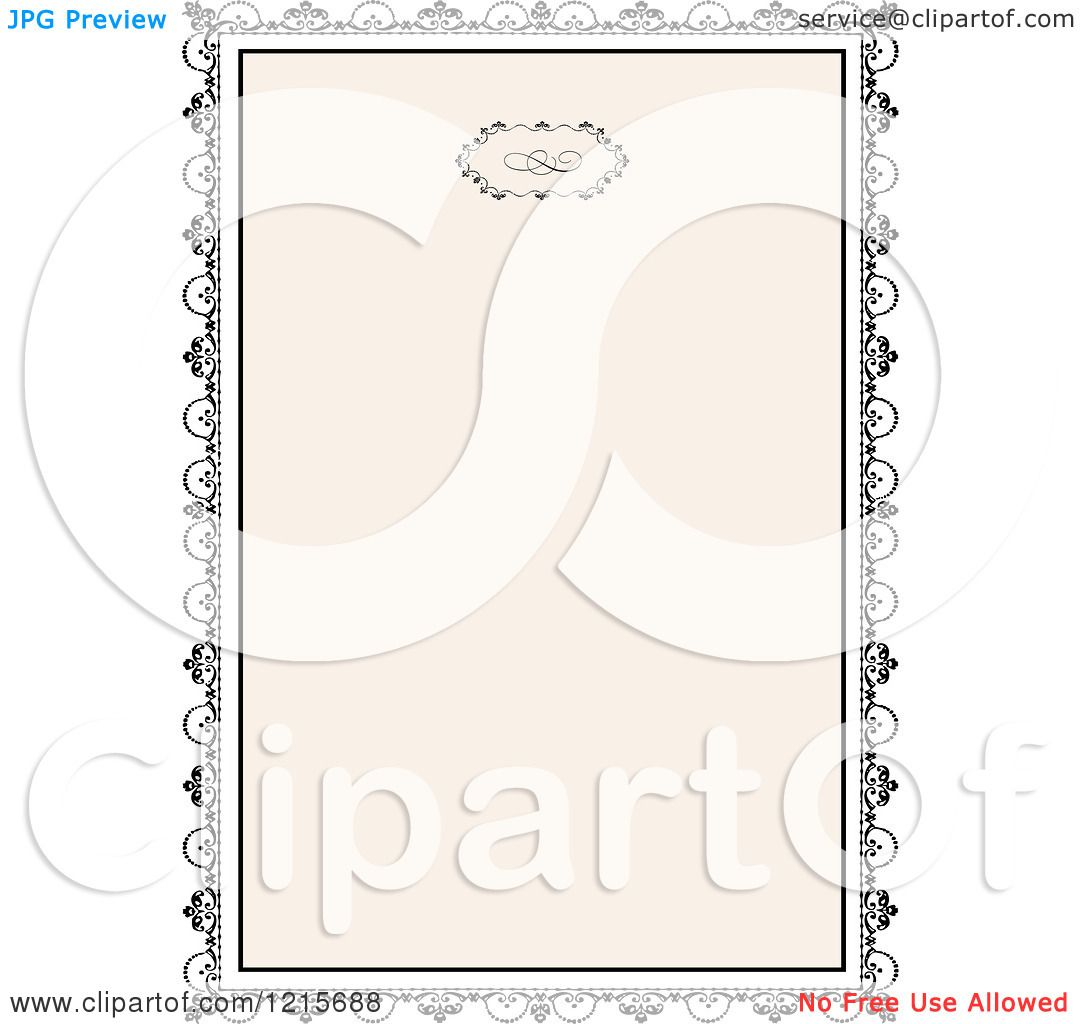 Clipart of a Vintage Wedding Invitation with Ornate Black Framing ...