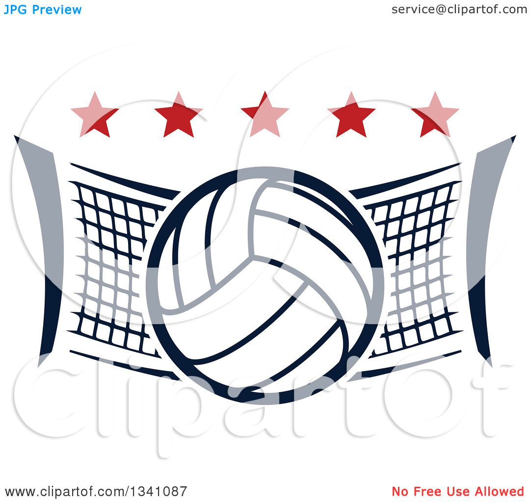 clipart of a volleyball and net with red stars royalty free vector rh clipartof com volleyball net and ball clipart