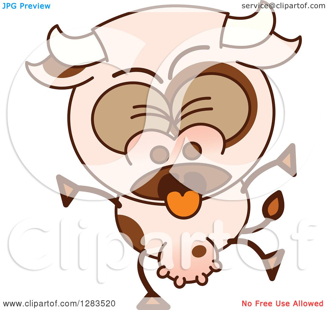clipart of a vomiting cartoon cow royalty free vector