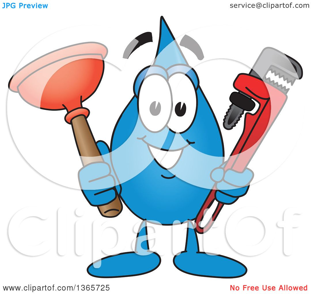 clipart of a water drop mascot cartoon character holding a