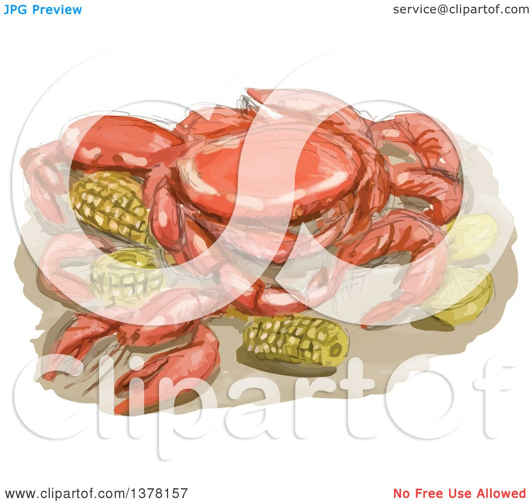 Clipart of a Watercolor Cajun Seafood Meal with Shrimp, Crawfish ...