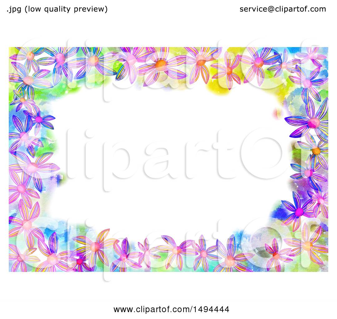 Clipart Of A Watercolor Flower Border On White Background