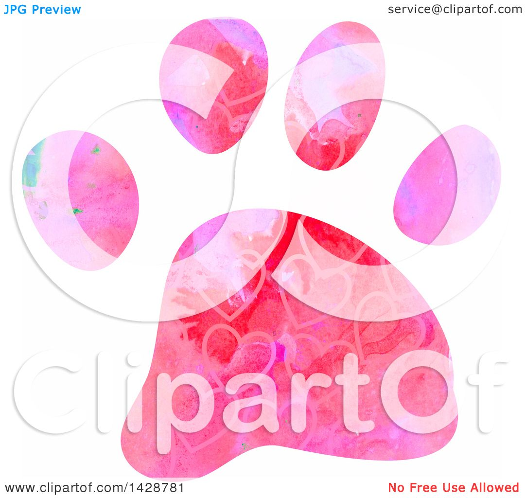 Clipart Of A Watercolor Heart Patterned Dog Paw Print