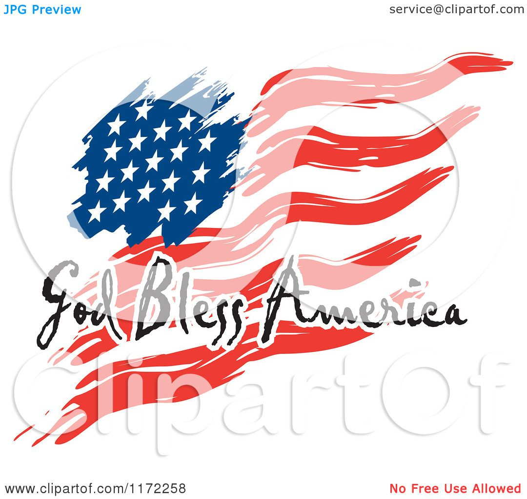 Clipart of a Waving American Flag and God Bless America Text - Royalty ...